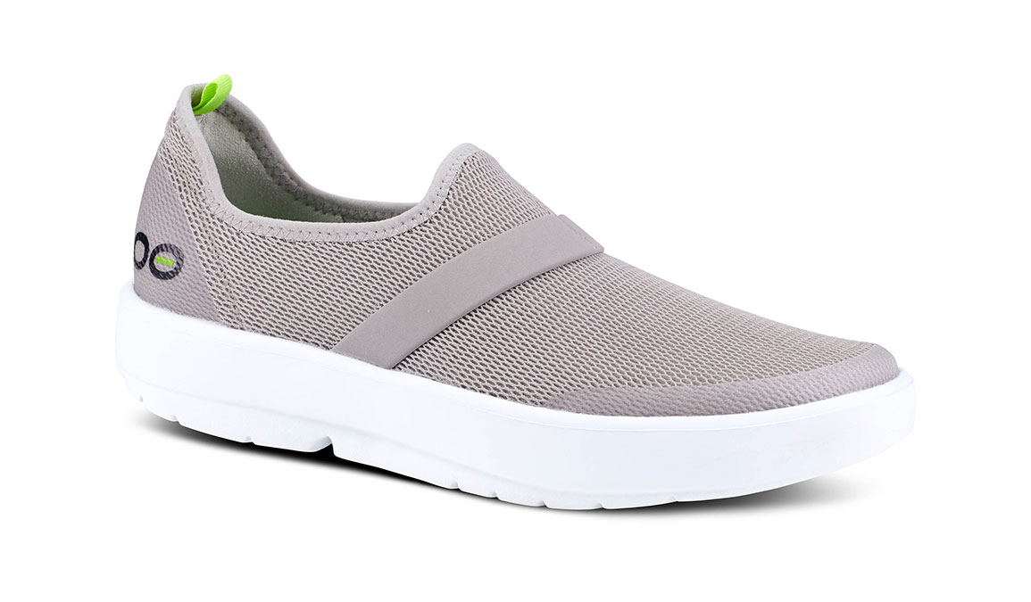 Women's Oofos OOmg Slip-On Recovery Shoe - Color: Grey/White (Regular Width) - Size: 6, Grey/White, large, image 2