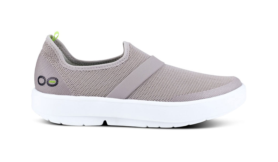 Women's Oofos OOmg Slip-On Recovery Shoe - Color: Grey/White (Regular Width) - Size: 6, Grey/White, large, image 1