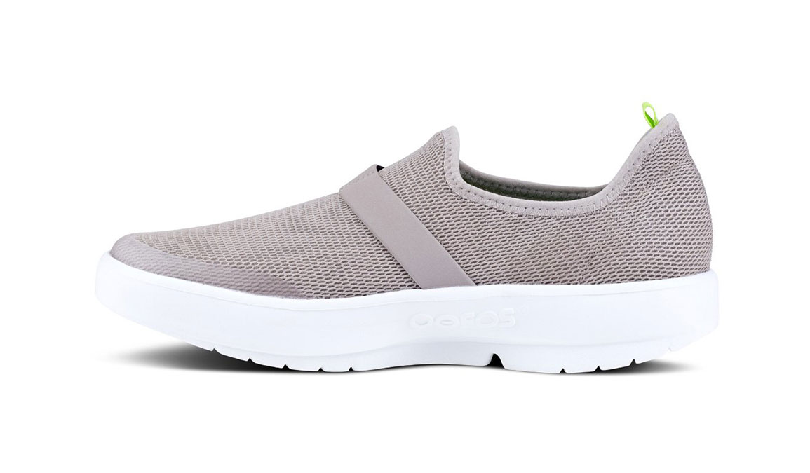 Women's Oofos OOmg Slip-On Recovery Shoe - Color: Grey/White (Regular Width) - Size: 6, Grey/White, large, image 3