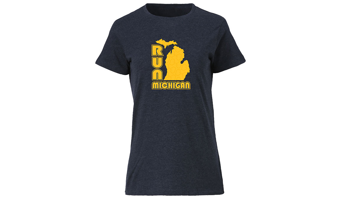 Women's Ouray Run Michigan Glove Tee - Color: Vintage Navy Size: M, Navy, large, image 1