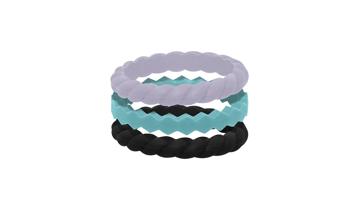 Women's Qalo Carrie Stacking Ring - Color: Black/Teal/Grey Size: 6, Black/Teal, large, image 1