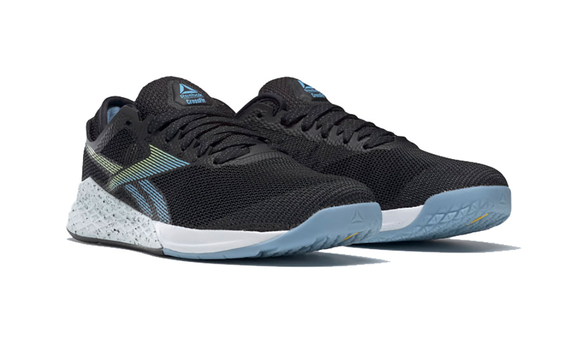 Men's Reebok Nano 9 Training Shoes - Color: Black/Fluid Blue/Lemon Glow (Regular Width) - Size: 6, Black/Blue, large, image 3