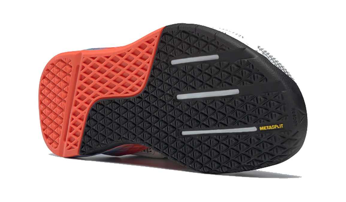 Women's Reebok Nano X Training Shoe - Color: White/Fluid Blue/Vivid Orange (Regular Width) - Size: 5.5, White/Orange, large, image 4