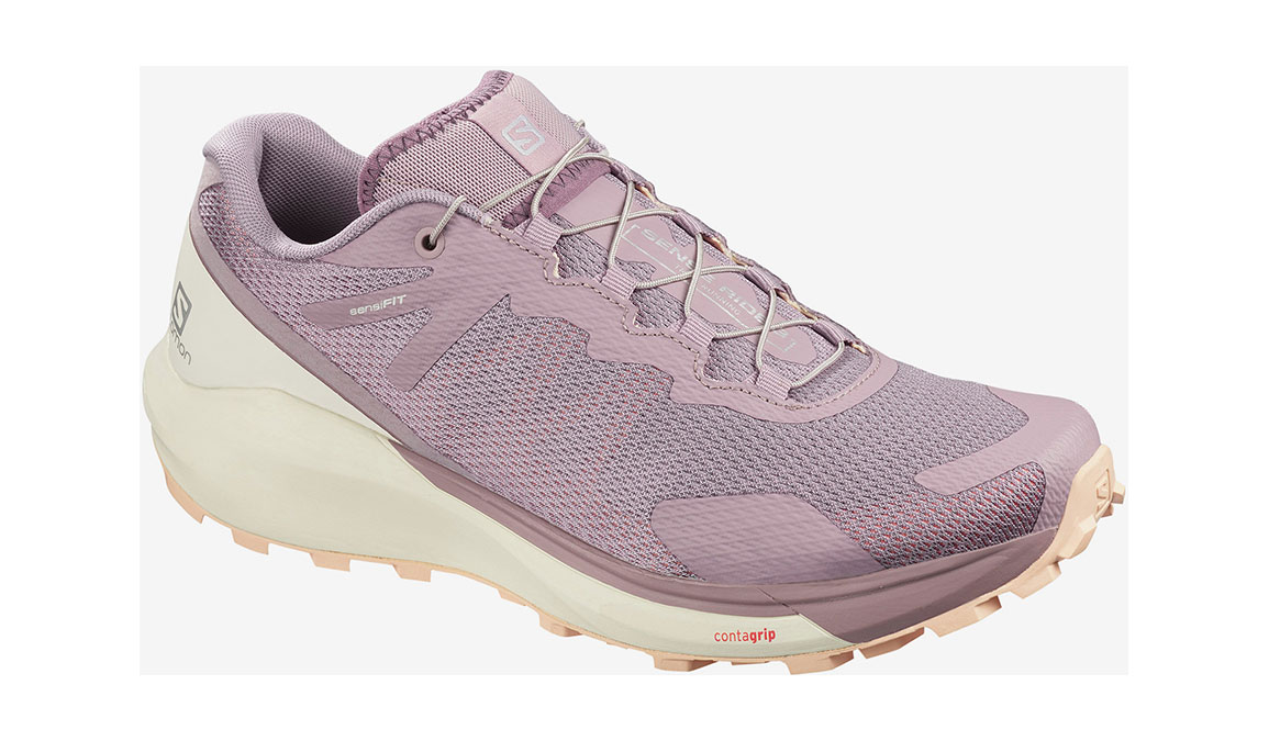 Women's Salomon Sense Ride 3 Trail Running Shoe - Color: Quail/Vanilla Ice/Bellini (Regular Width) - Size: 6.5, Pink/White, large, image 1