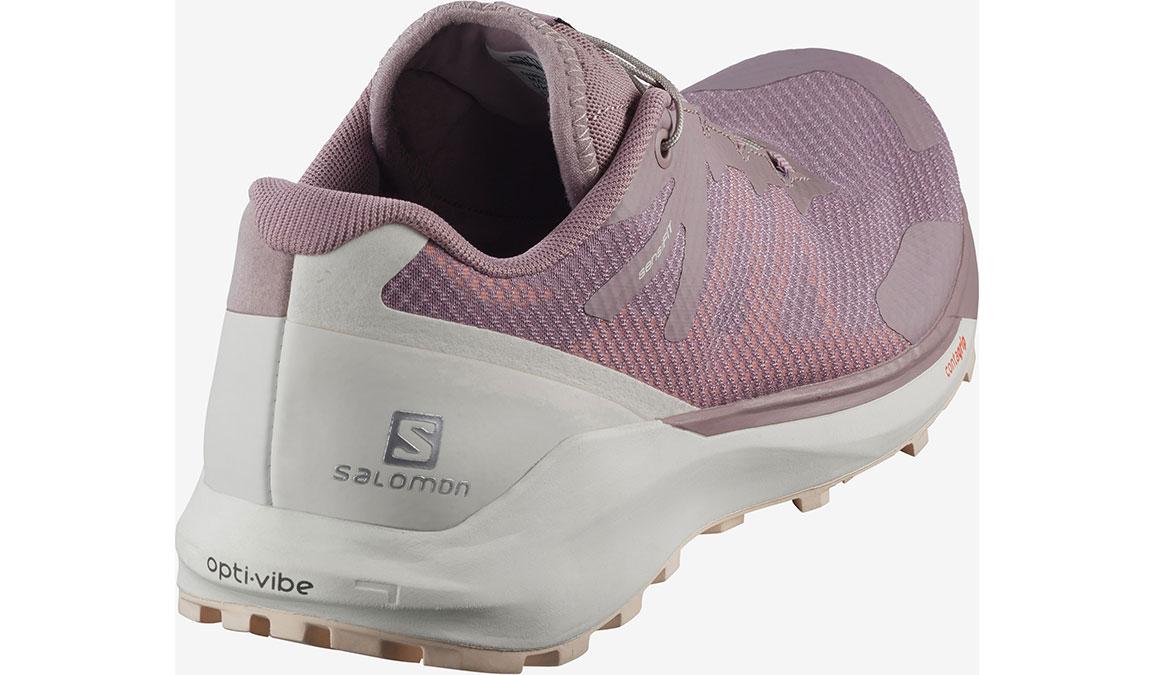 Women's Salomon Sense Ride 3 Trail Running Shoe - Color: Quail/Vanilla Ice/Bellini (Regular Width) - Size: 6.5, Pink/White, large, image 2
