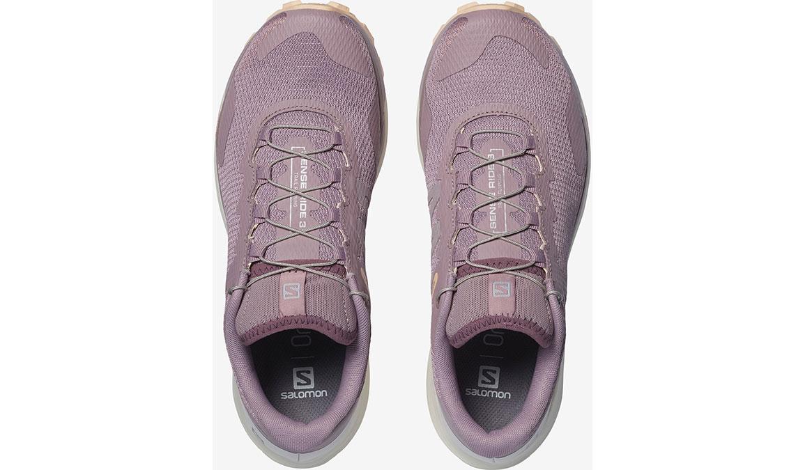 Women's Salomon Sense Ride 3 Trail Running Shoe - Color: Quail/Vanilla Ice/Bellini (Regular Width) - Size: 6.5, Pink/White, large, image 3