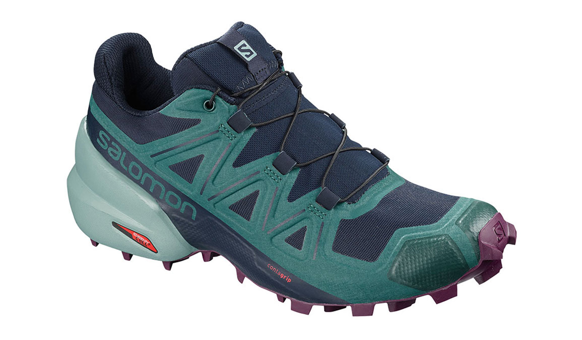 Women's Salomon Speedcross 5 Trail Running Shoe - Color: Navy Blazer/Potent Purple (Regular Width) - Size: 5, Navy/Purple, large, image 1