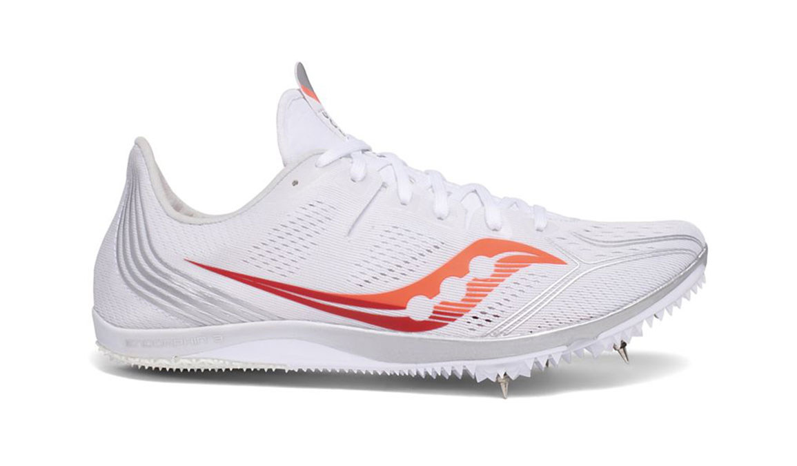 Women's Saucony Endorphin 3 Track Spikes - Color: White/Vizired (Regular Width) - Size: 6, White/Red, large, image 1