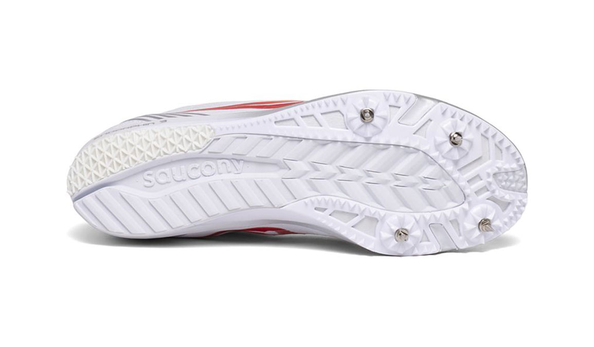Women's Saucony Endorphin 3 Track Spikes - Color: White/Vizired (Regular Width) - Size: 6, White/Red, large, image 4
