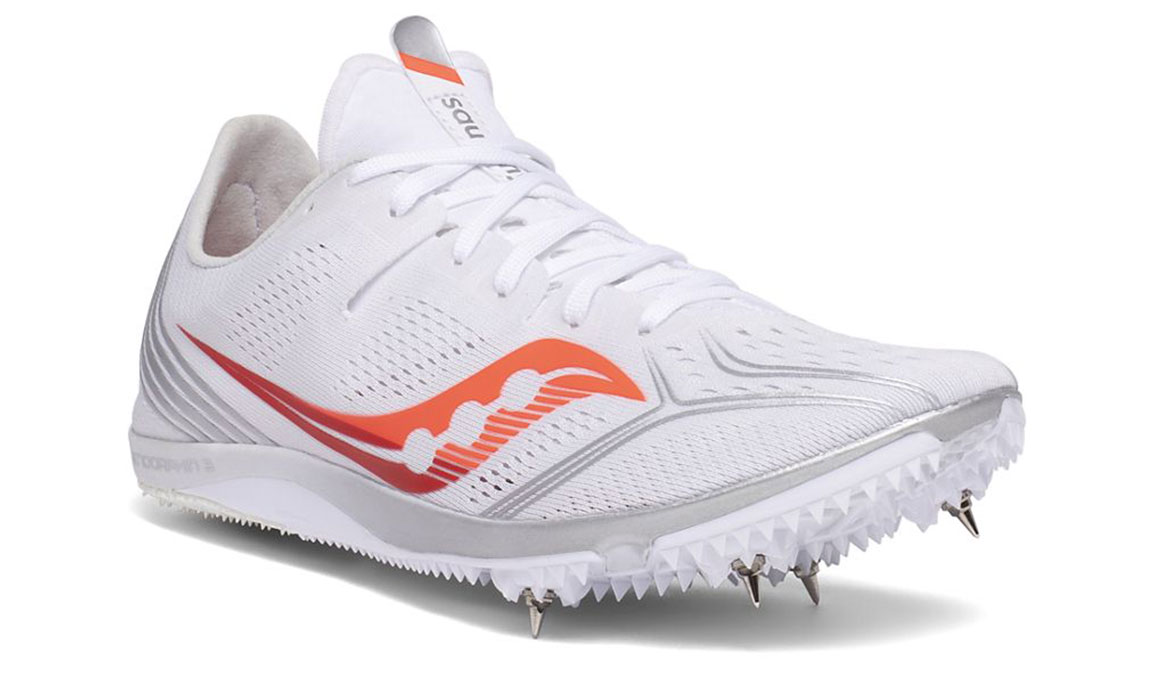 Women's Saucony Endorphin 3 Track Spikes - Color: White/Vizired (Regular Width) - Size: 6, White/Red, large, image 5