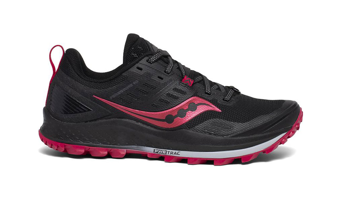 Women's Saucony Peregrine 10 Trail Running Shoe - Color: Black/Barberry (Regular Width) - Size: 7, Black/Red, large, image 1