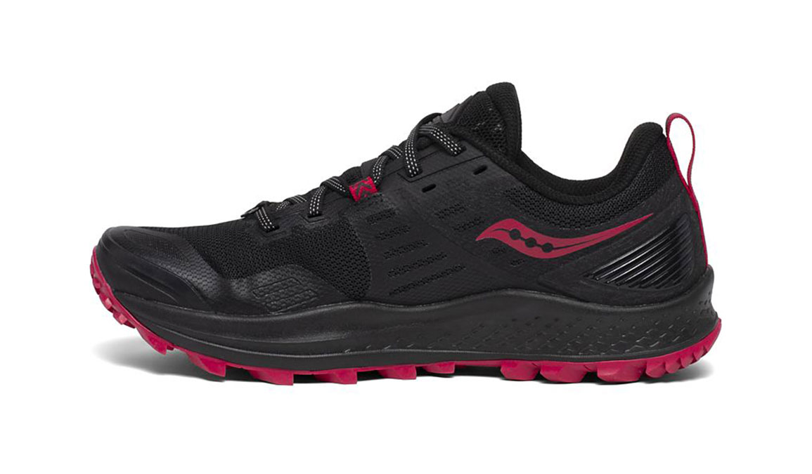 Women's Saucony Peregrine 10 Trail Running Shoe - Color: Black/Barberry (Regular Width) - Size: 7, Black/Red, large, image 2