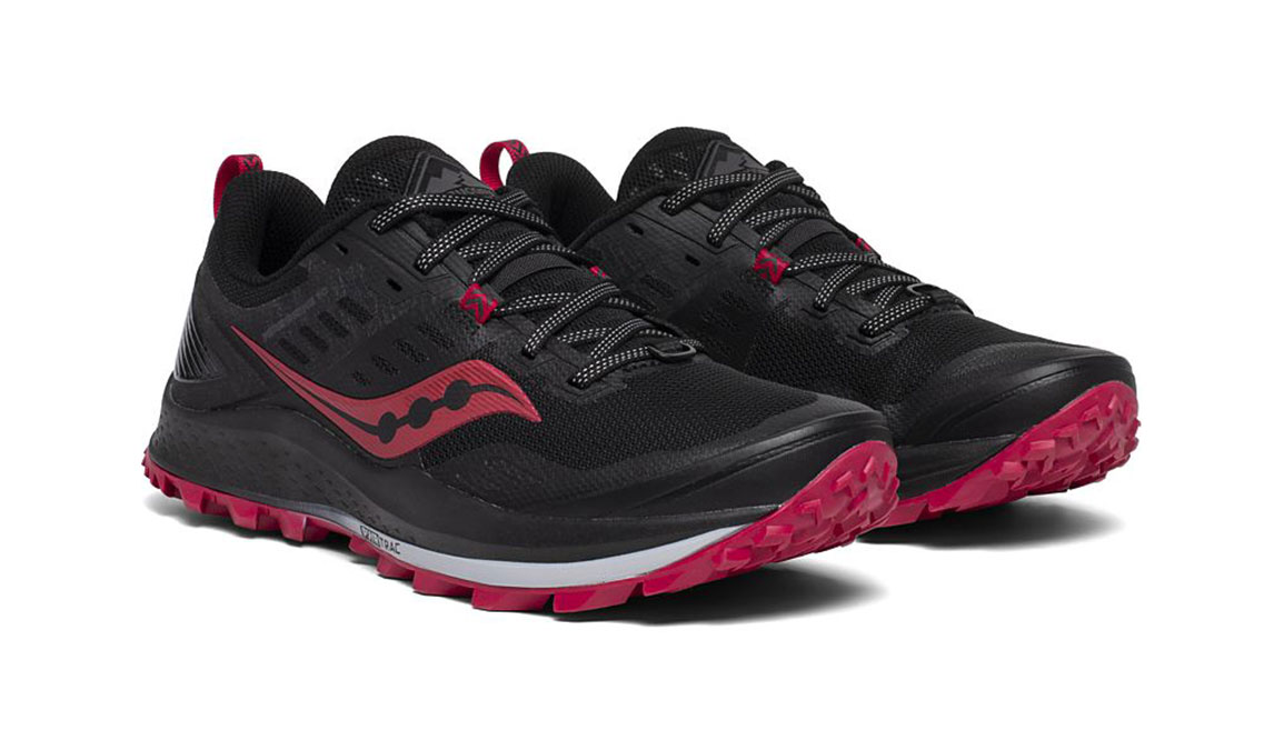Women's Saucony Peregrine 10 Trail Running Shoe - Color: Black/Barberry (Regular Width) - Size: 7, Black/Red, large, image 5