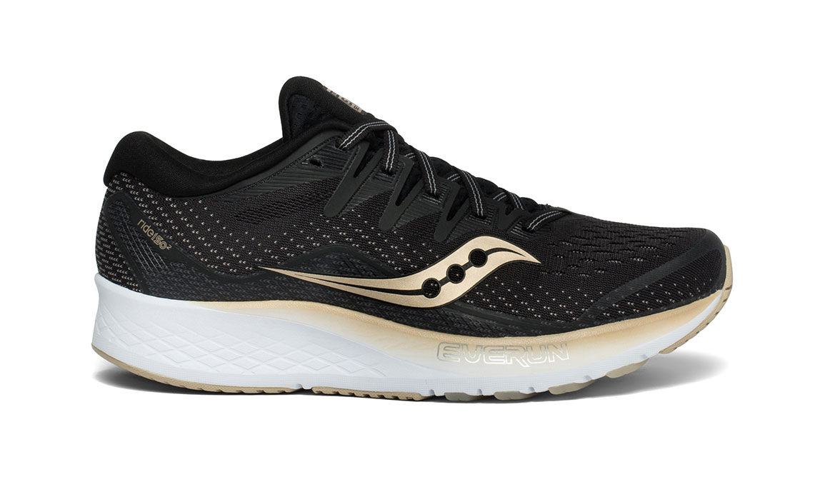 Women's Saucony Ride ISO 2 Running Shoe - Color: Black/Gold (Regular Width) - Size: 6.5, Black/Gold, large, image 1