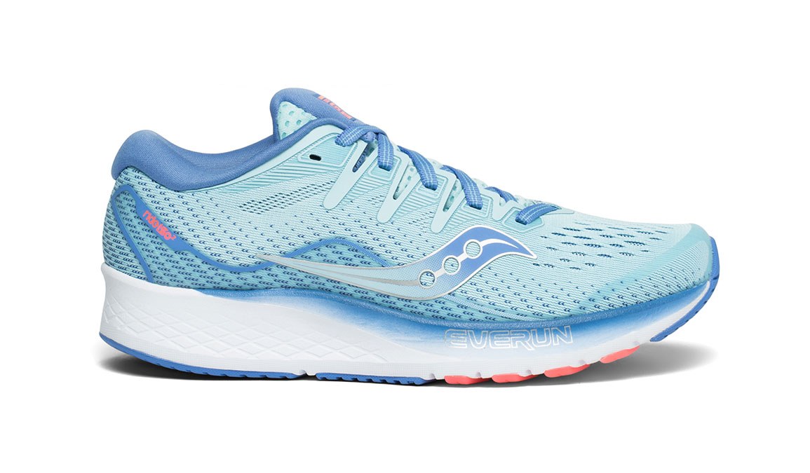 Women's Saucony Ride ISO 2 Running Shoe - Color: Blue/Coral (Regular Width) - Size: 6, Blue/Coral, large, image 1