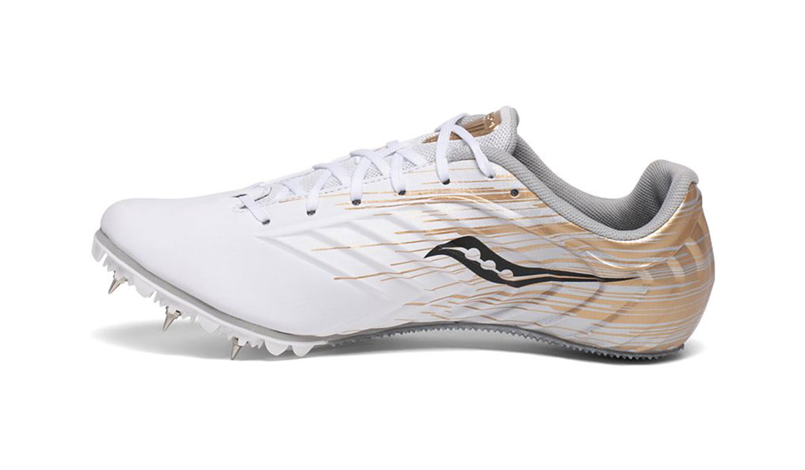 Women's Saucony Spitfire 5 Track Spikes - Color: White/Gold (Regular Width) - Size: 6, White/Gold, large, image 2