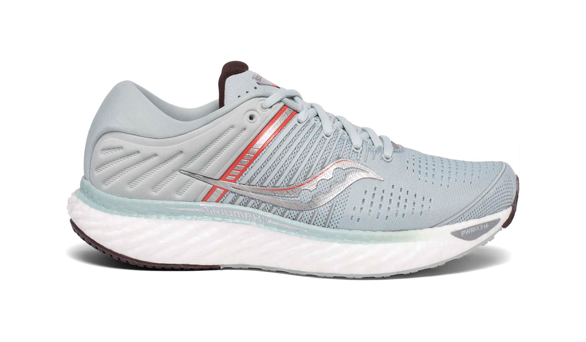 Women's Saucony Triumph 17 Running Shoe - Color: Sky Grey/Coral (Regular Width) - Size: 6.5, Grey/Coral, large, image 1