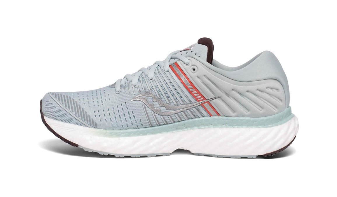 Women's Saucony Triumph 17 Running Shoe - Color: Sky Grey/Coral (Regular Width) - Size: 6.5, Grey/Coral, large, image 2