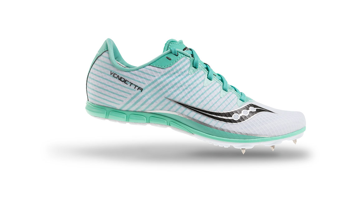 Women's Saucony Vendetta 2 Track Spikes - Color: White/Teal (Regular Width) - Size: 5, White, large, image 2