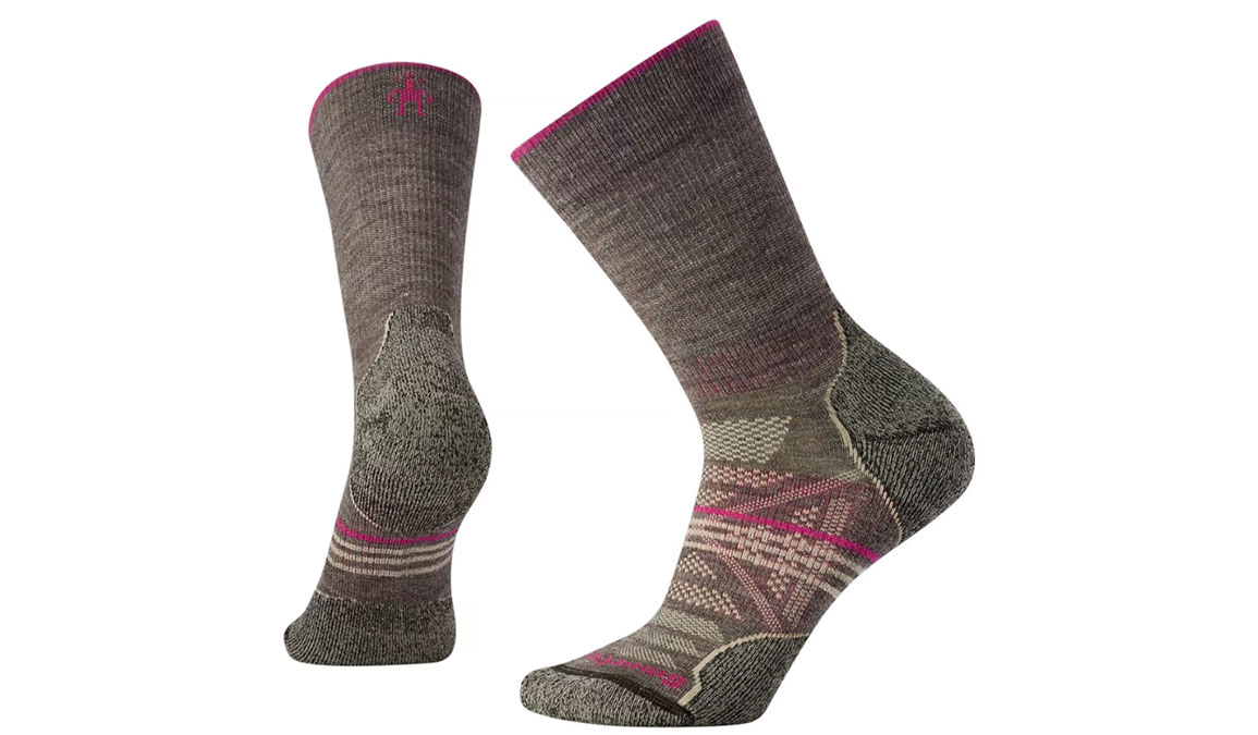 Women's Smartwool PhD Outdoor Light Crew Socks - Color: Taupe Size: S, Taupe, large, image 1