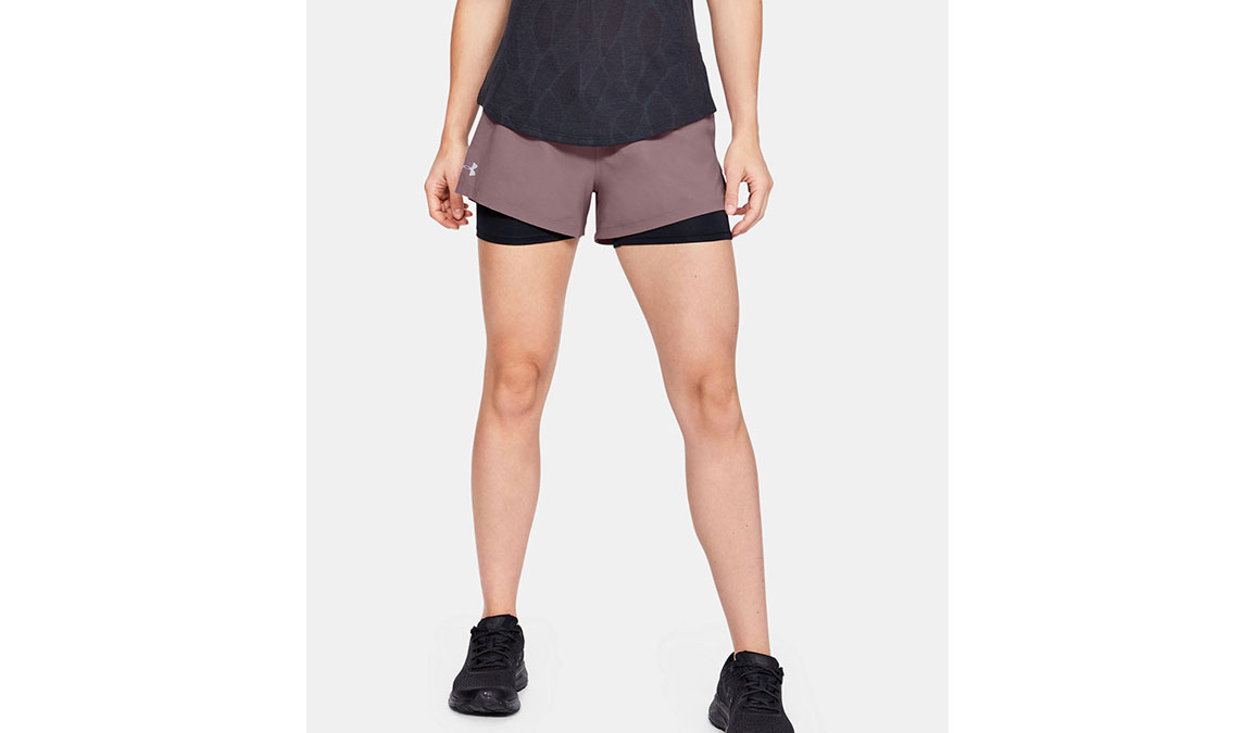 "Women's Under Armour Launch SW 2-in-1 3"" Shorts - Color: Hushed Pink/Black Size: XS, Hushed Pink/Black, large, image 1"