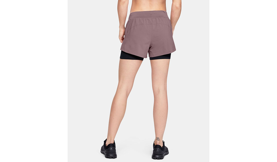 "Women's Under Armour Launch SW 2-in-1 3"" Shorts - Color: Hushed Pink/Black Size: XS, Hushed Pink/Black, large, image 2"
