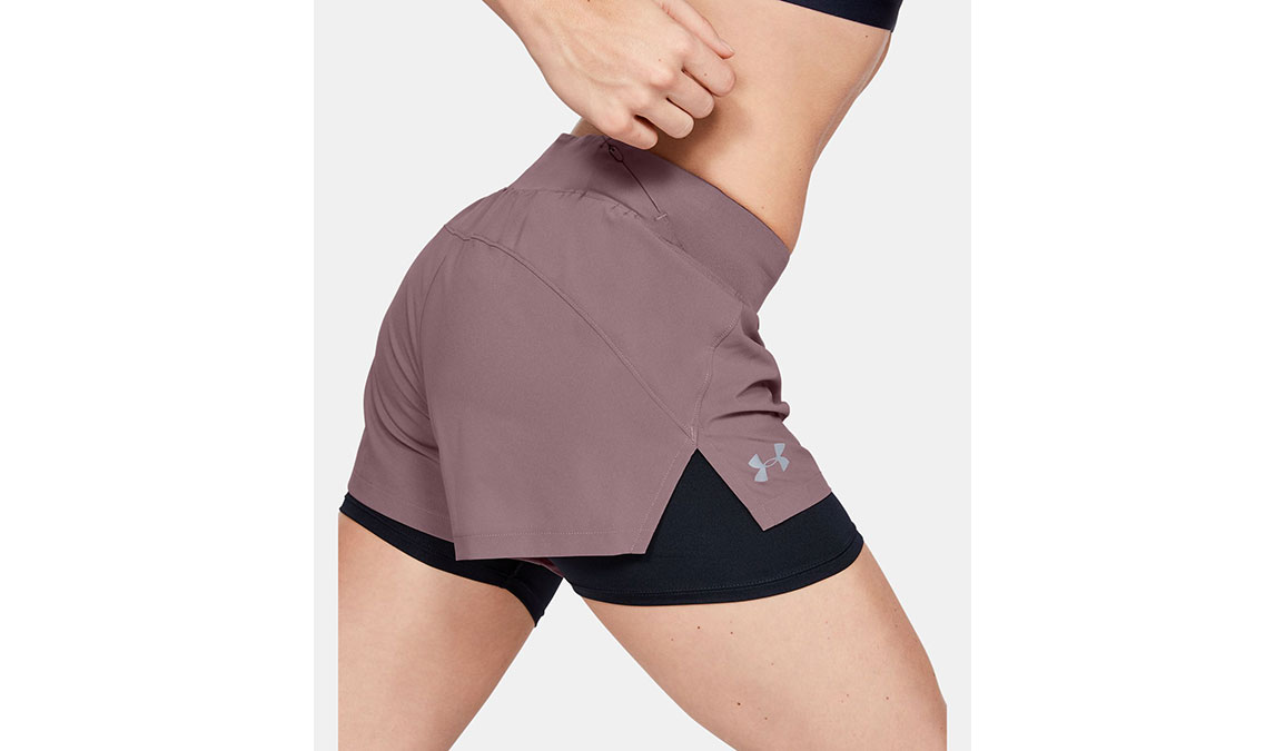 "Women's Under Armour Launch SW 2-in-1 3"" Shorts - Color: Hushed Pink/Black Size: XS, Hushed Pink/Black, large, image 4"