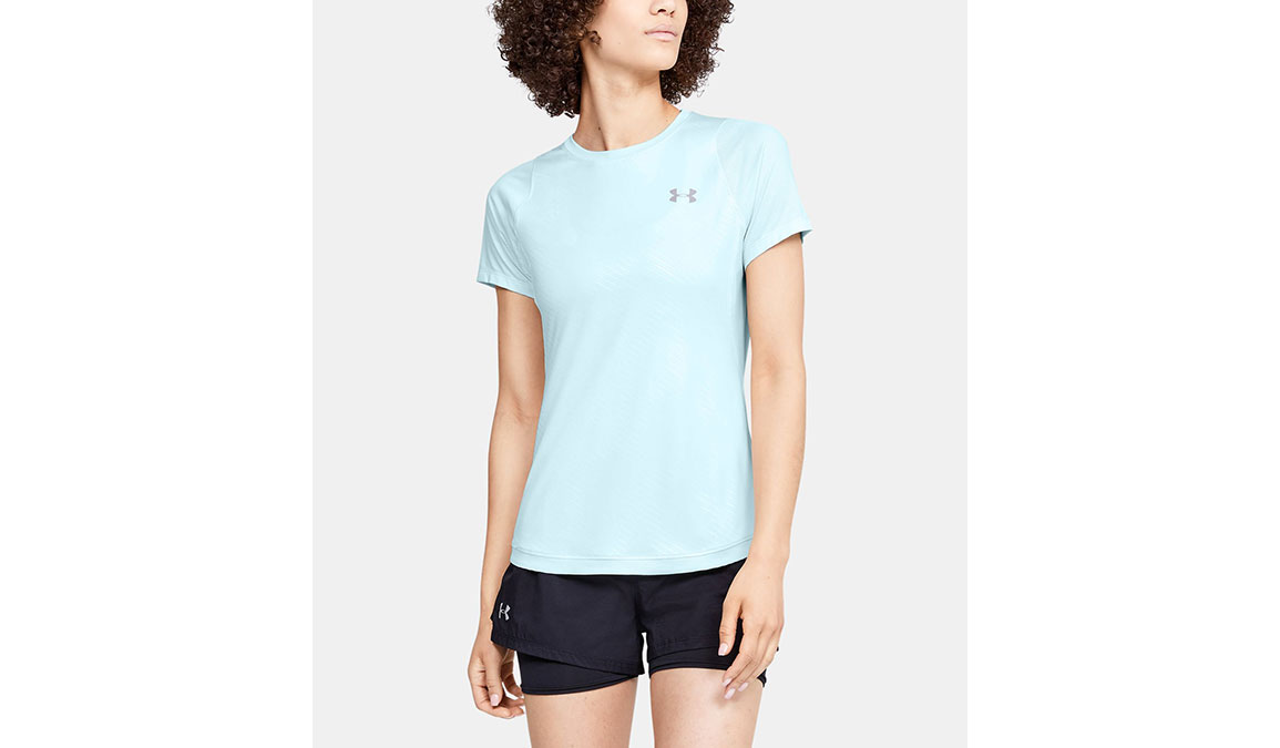 Women's Under Armour Qualifier Iso-Chill Embossed Short Sleeve - Color: Rift Blue Size: XS, Rift Blue, large, image 1