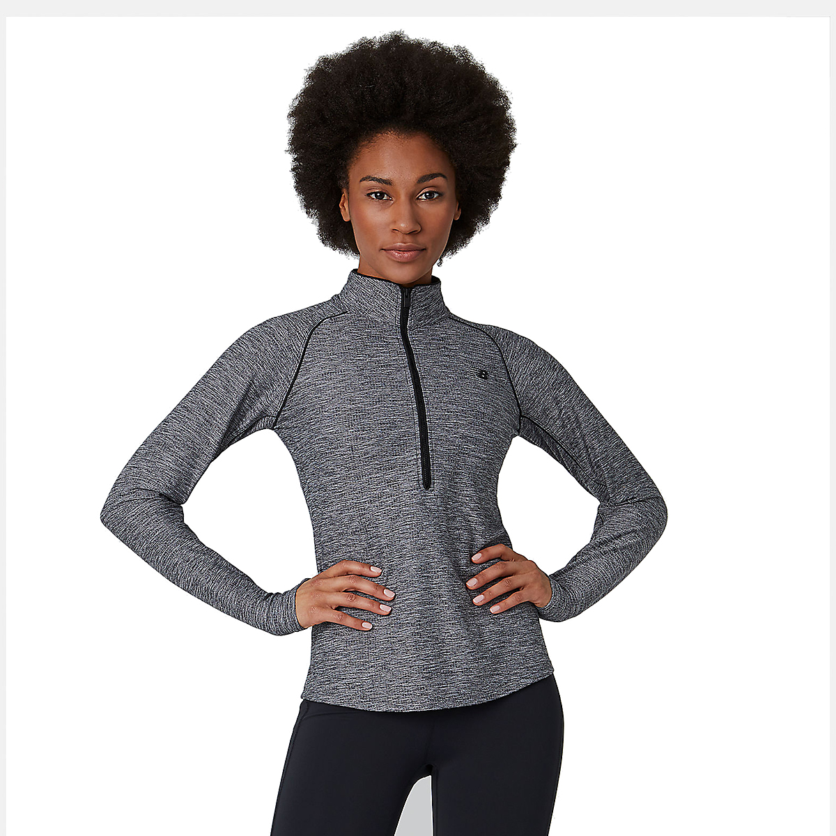 Women's New Balance Transform 1/2 Zip - Color: Black Heather - Size: XS, Black Heather, large, image 3