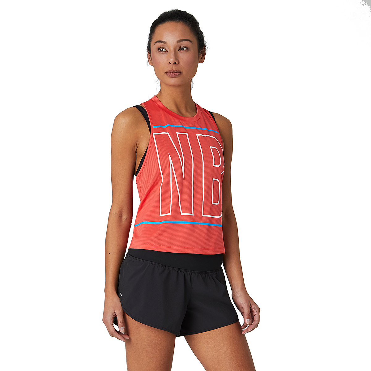 Women's New Balance Printed Fast Flight Crop Tank - Color: Toro Red - Size: S, Toro Red, large, image 1