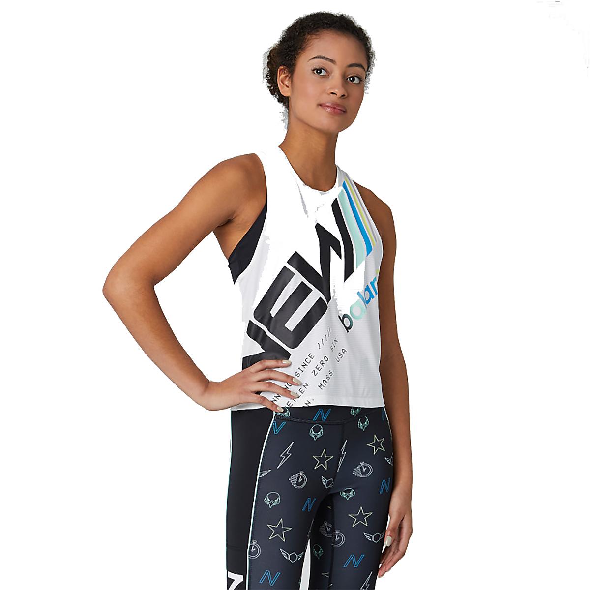 Women's New Balance Printed Velocity Crop Tank - Color: White Multi - Size: XS, White Multi, large, image 1