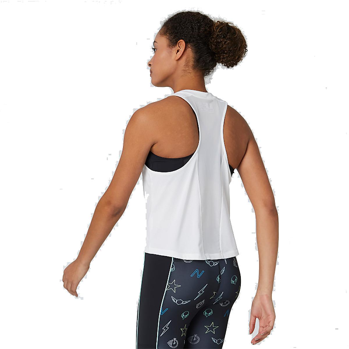 Women's New Balance Printed Velocity Crop Tank - Color: White Multi - Size: XS, White Multi, large, image 3