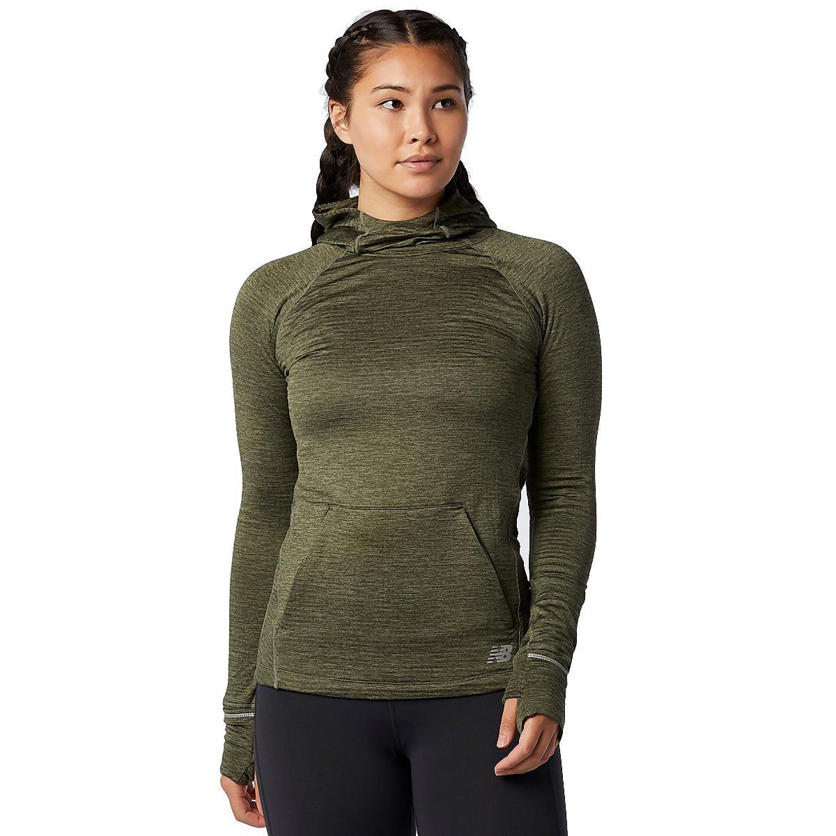 Women's New Balance Heat Grid Hoodie - Color: Oak Green - Size: XS, Oak Green, large, image 1