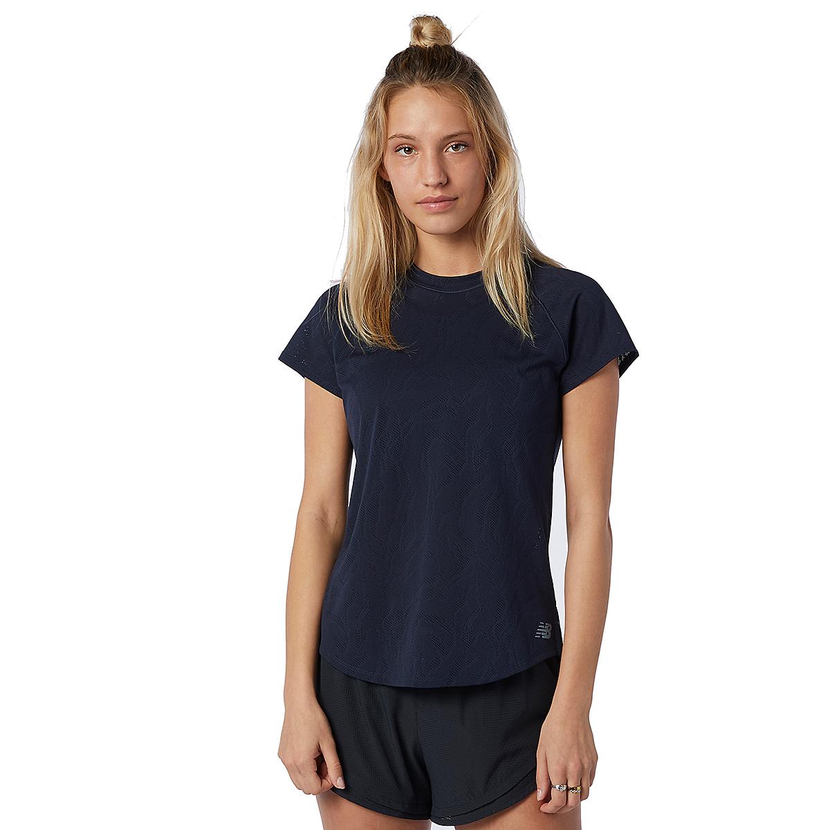 Women's New Balance Q Speed Fuel Jacquard Short Sleeve - Color: Eclipse - Size: XS, Eclipse, large, image 1