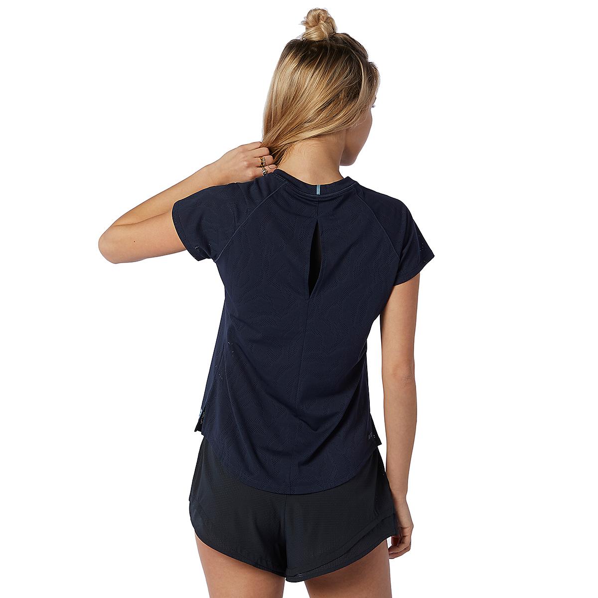 Women's New Balance Q Speed Fuel Jacquard Short Sleeve - Color: Eclipse - Size: XS, Eclipse, large, image 2