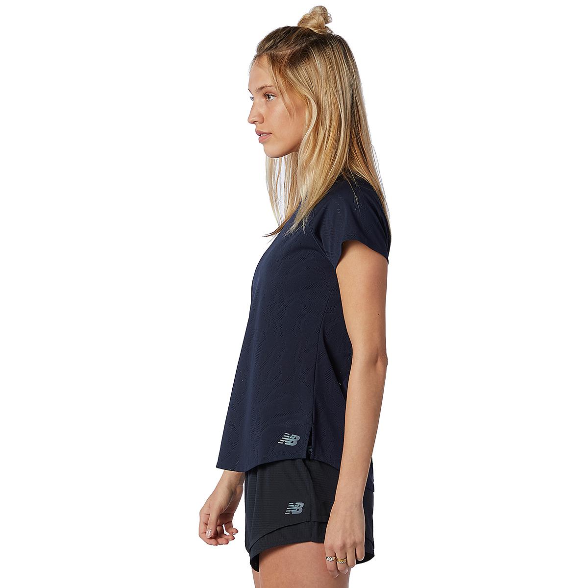 Women's New Balance Q Speed Fuel Jacquard Short Sleeve - Color: Eclipse - Size: XS, Eclipse, large, image 3