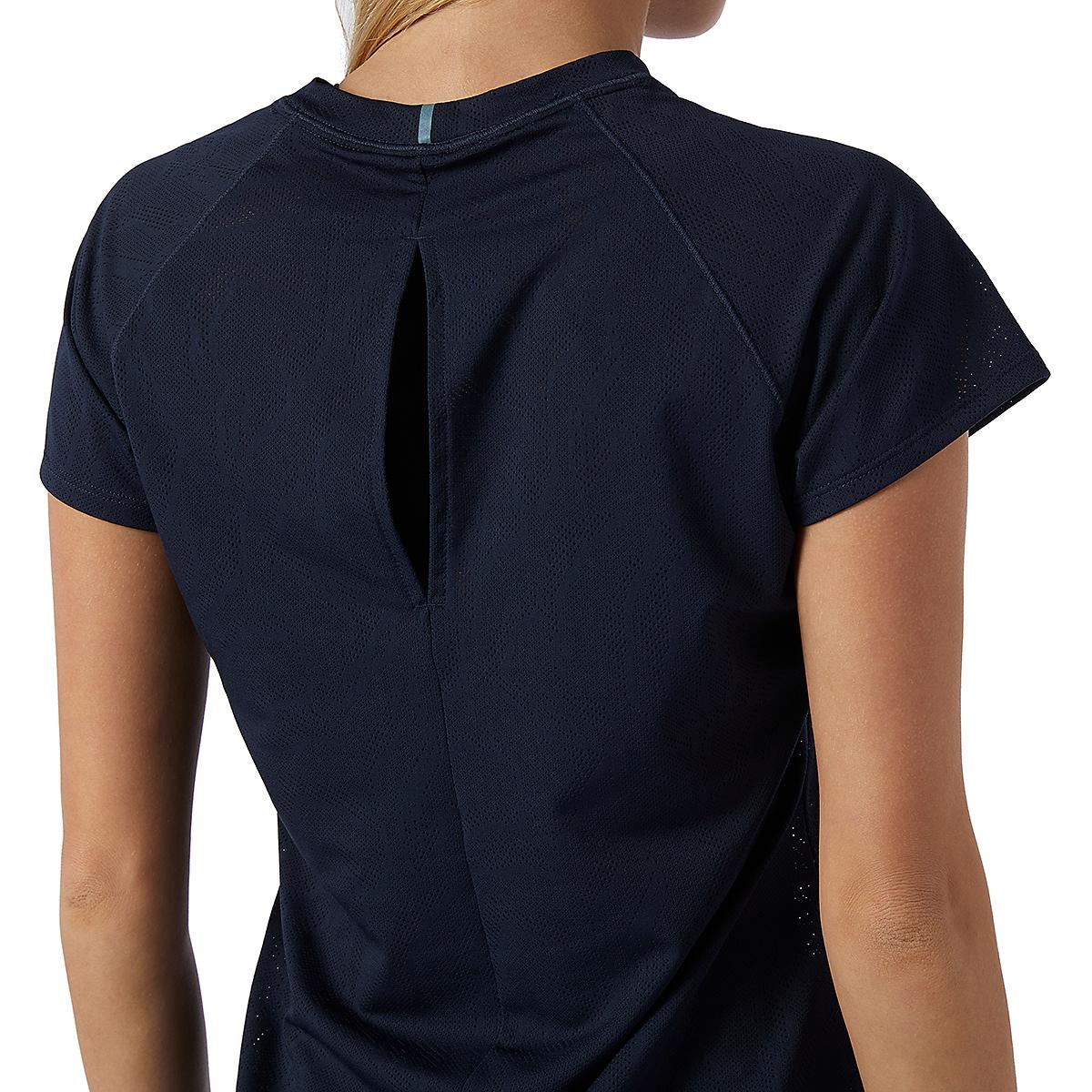 Women's New Balance Q Speed Fuel Jacquard Short Sleeve - Color: Eclipse - Size: XS, Eclipse, large, image 4