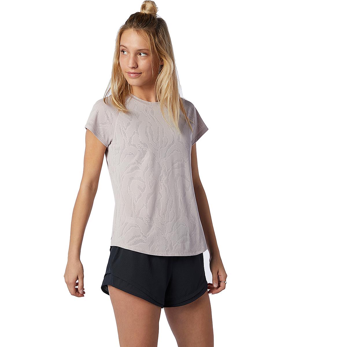Women's New Balance Q Speed Fuel Jacquard Short Sleeve - Color: Logwood - Size: XS, Logwood, large, image 1
