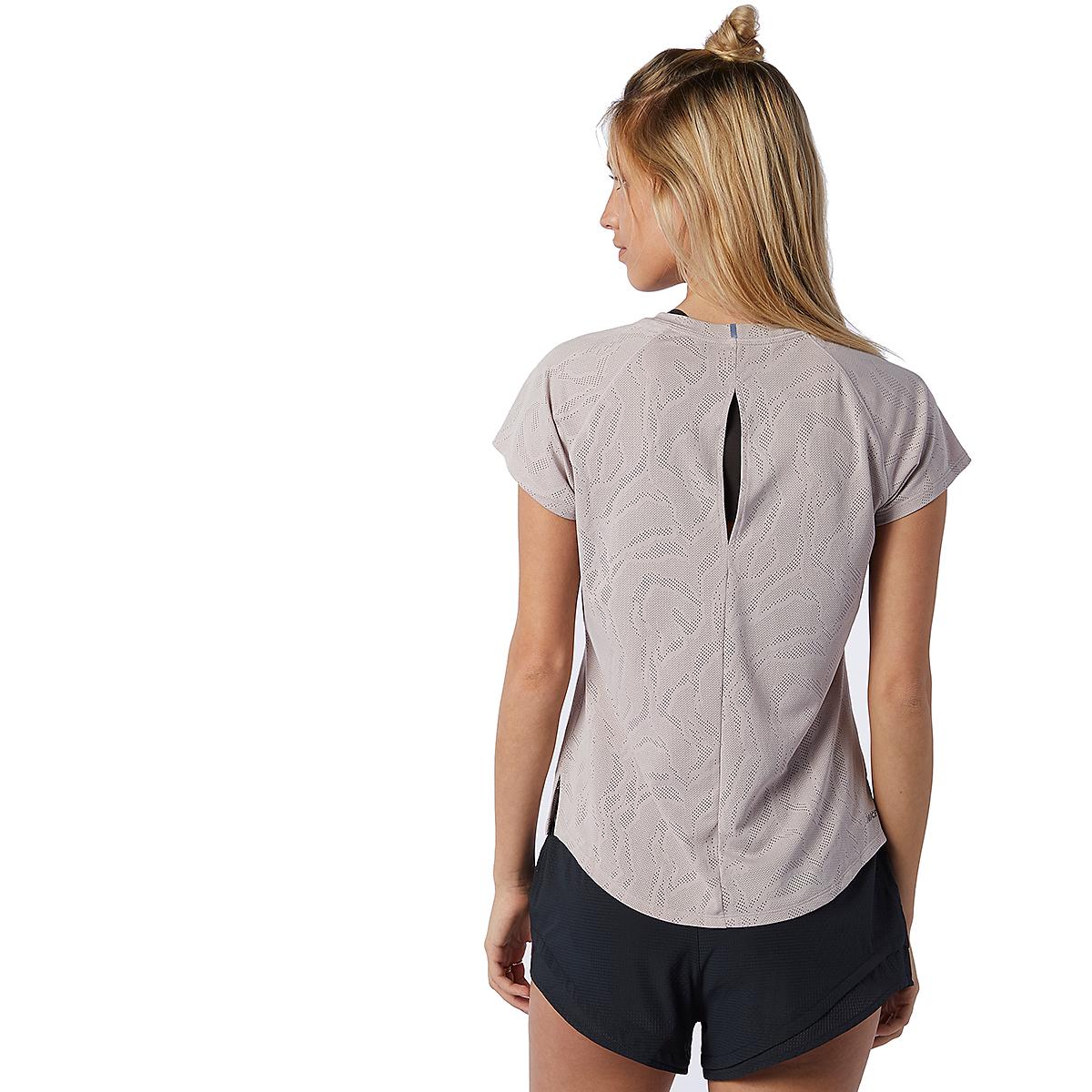 Women's New Balance Q Speed Fuel Jacquard Short Sleeve - Color: Logwood - Size: XS, Logwood, large, image 2