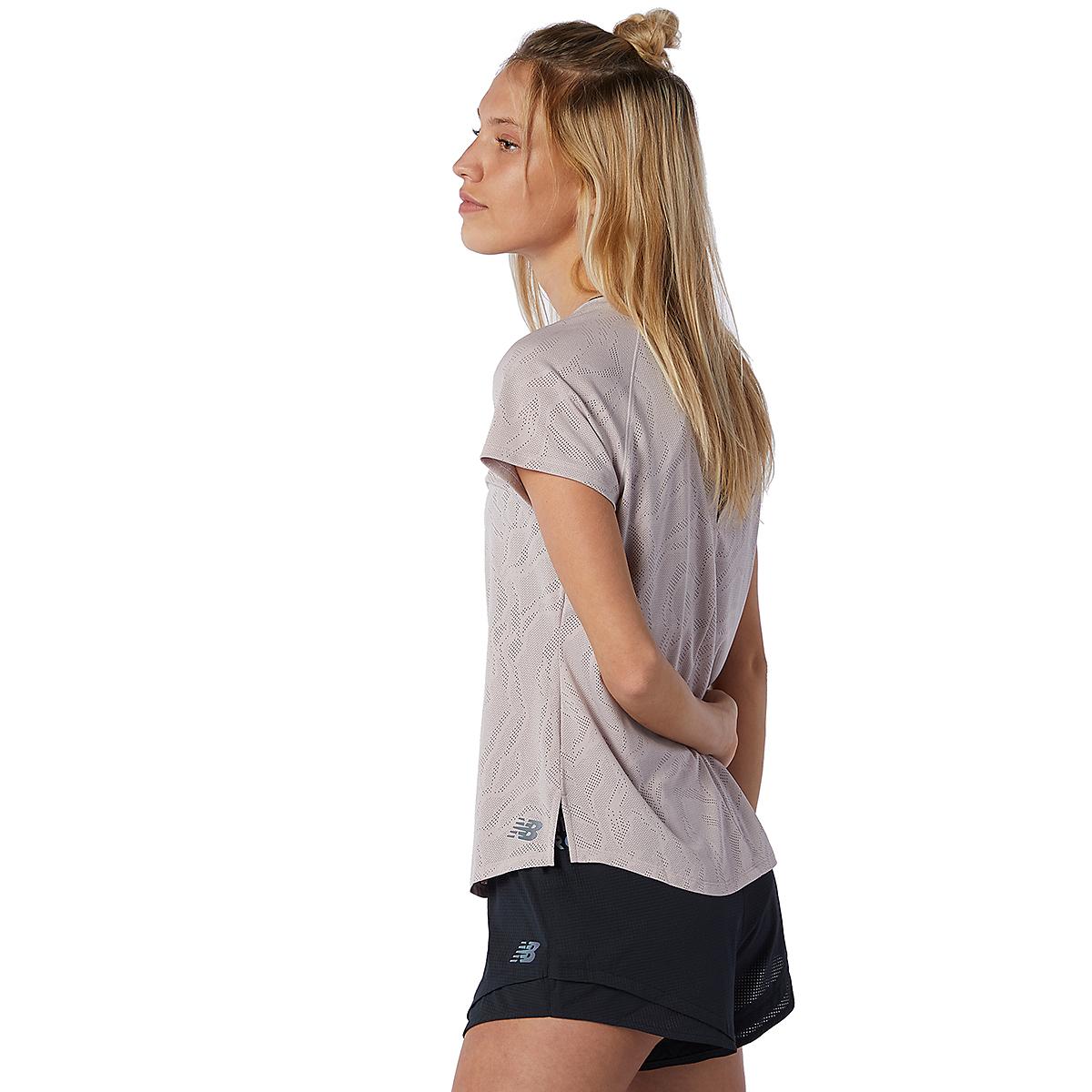 Women's New Balance Q Speed Fuel Jacquard Short Sleeve - Color: Logwood - Size: XS, Logwood, large, image 3