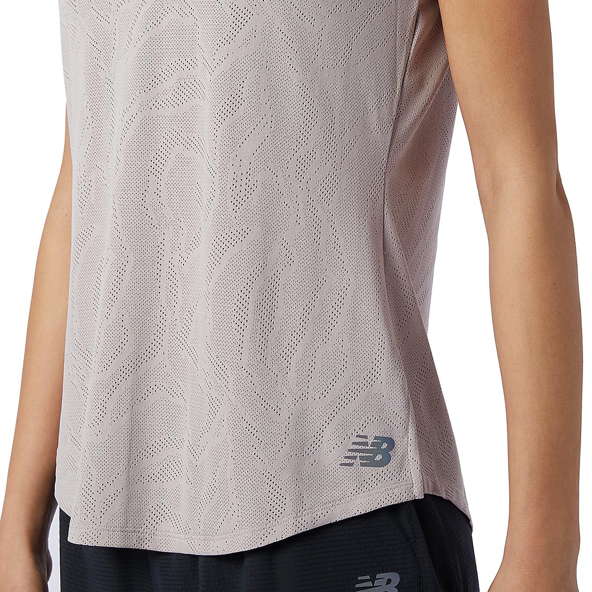 Women's New Balance Q Speed Fuel Jacquard Short Sleeve - Color: Logwood - Size: XS, Logwood, large, image 4
