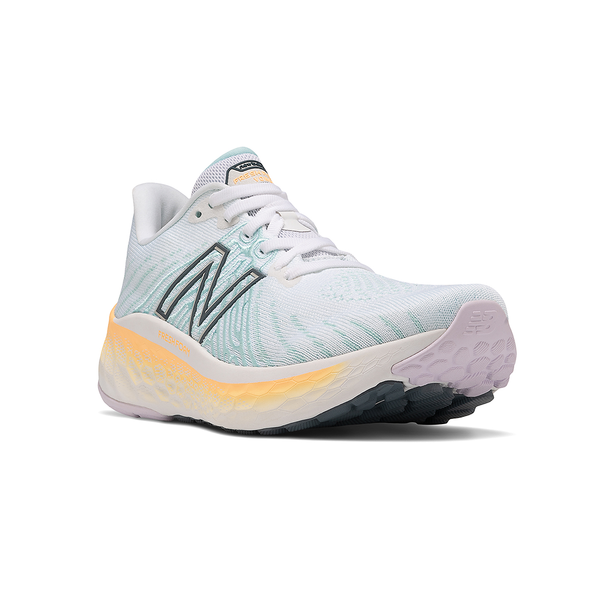 Women's New Balance Fresh Foam Vongo V5 Running Shoe - Color: White/Light Mango - Size: 5 - Width: Regular, White/Light Mango, large, image 3