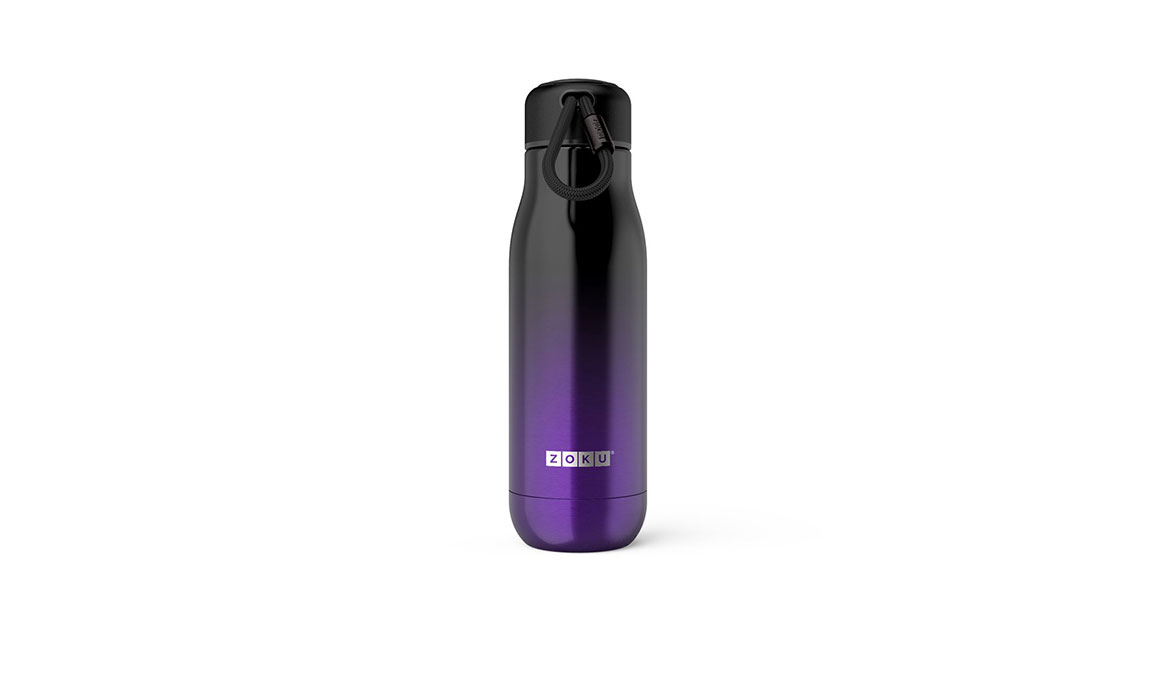 Zoku 18oz Stainless Steel Bottle - Color: Purple Ombre Size: NS, Purple/Black, large, image 1