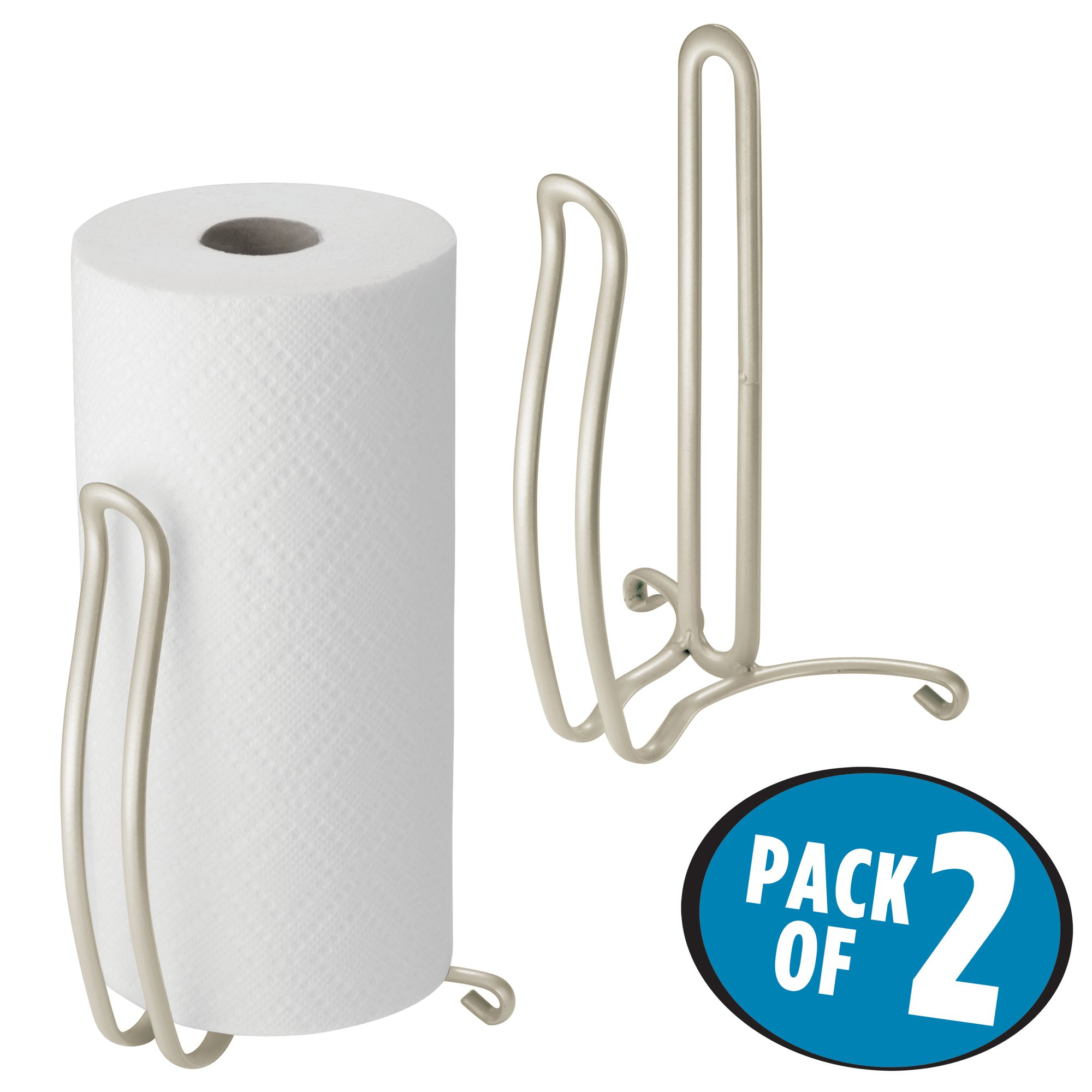mDesign Metal Steel Vertical Disposable Paper Towel Holder Stand//Dispenser Chrome Fits Standard and Jumbo-Sized Rolls for Kitchen Countertop Pantry Laundry or Utility Room Garage Storage