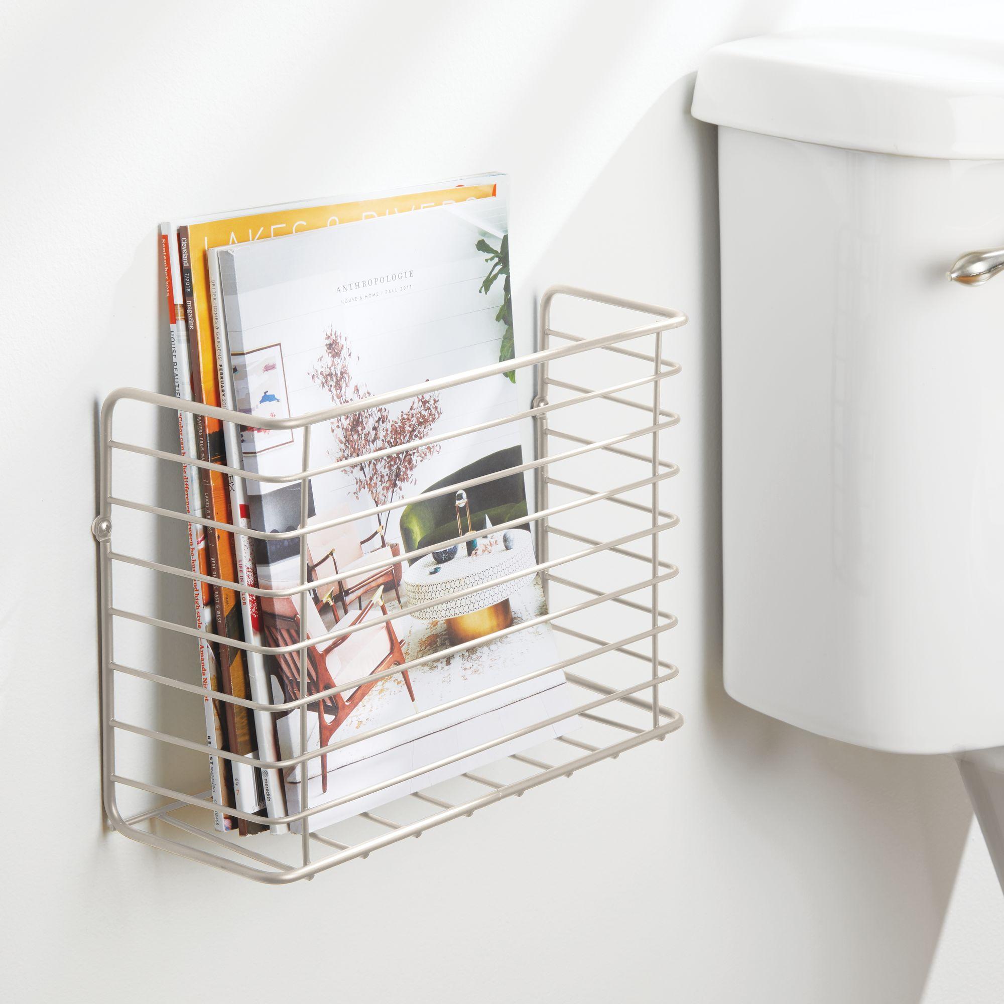 mDesign-Metal-Wall-Mount-Magazine-Holder-Storage-Organizer-Rack thumbnail 50