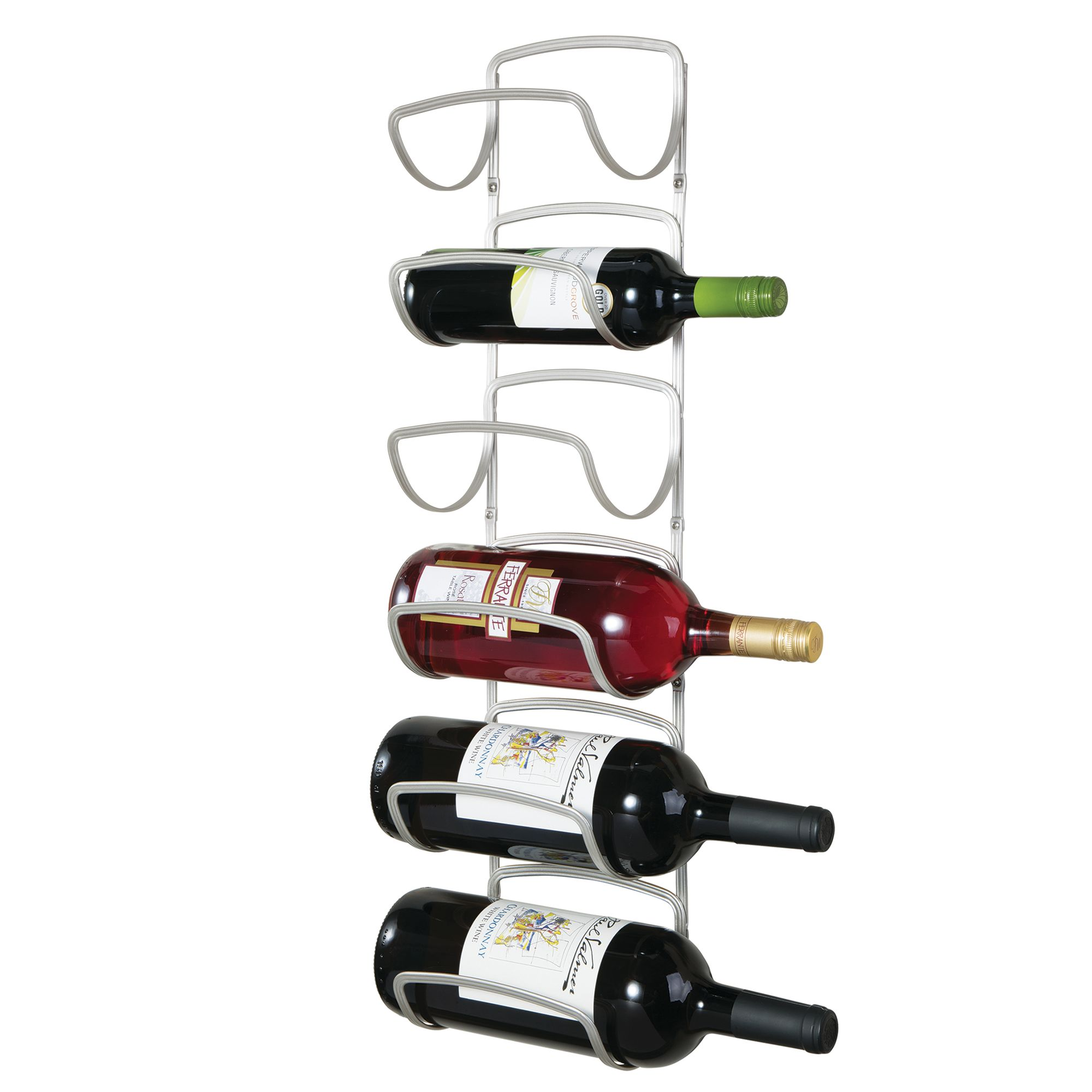 mDesign Modern Decorative Metal Wine Bottle Storage Organizer Rack