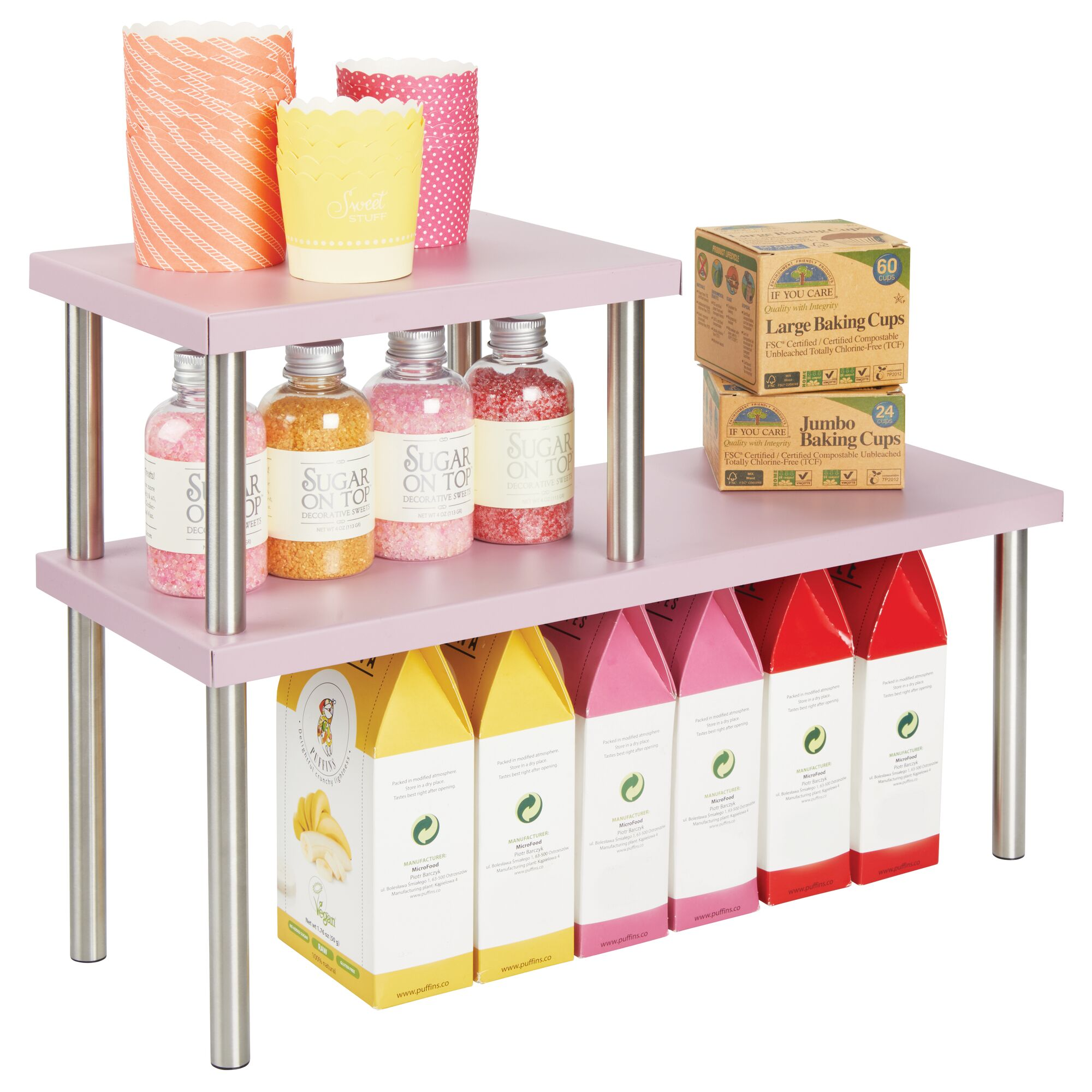 Details about mDesign Metal 3-Tier Storage Shelves for Kitchen Countertop,  Cabinet