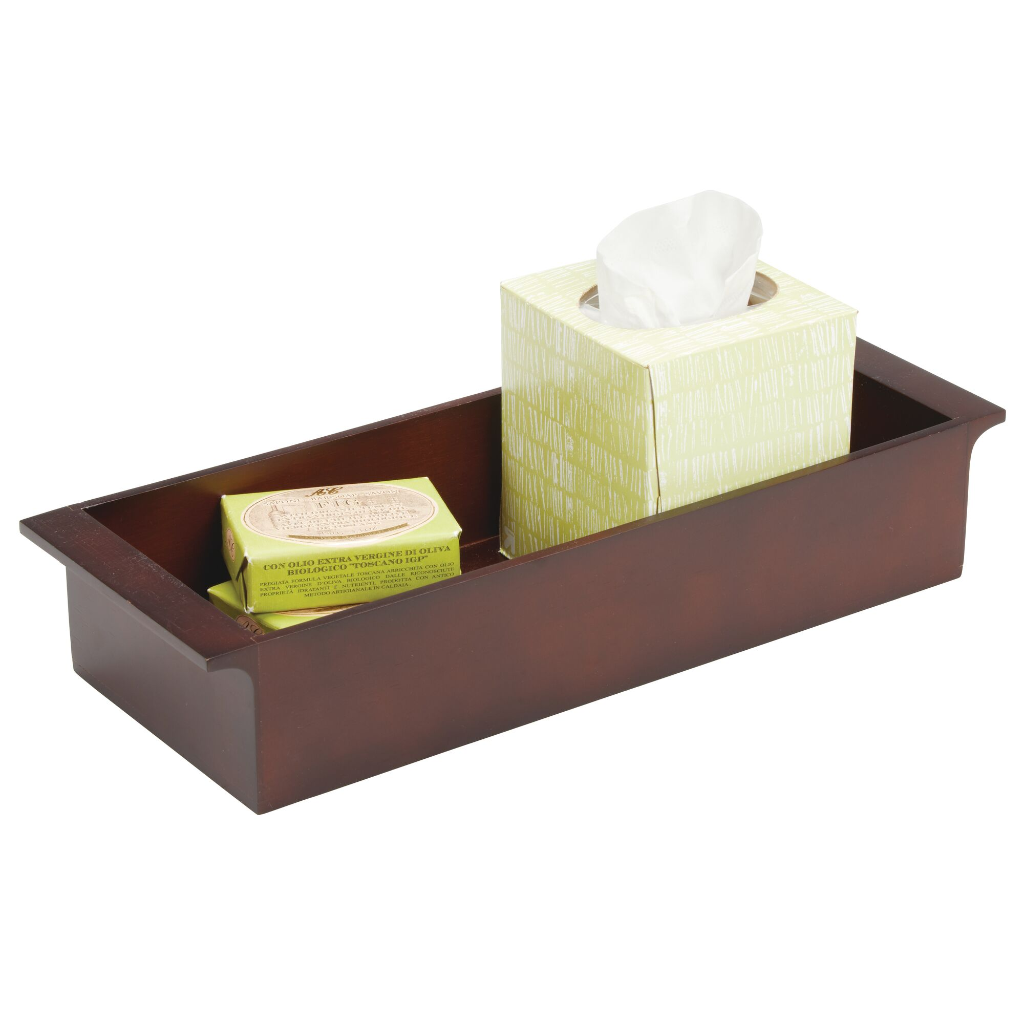 mDesign Deep Bamboo Bathroom Storage Organizer Tray Stackable