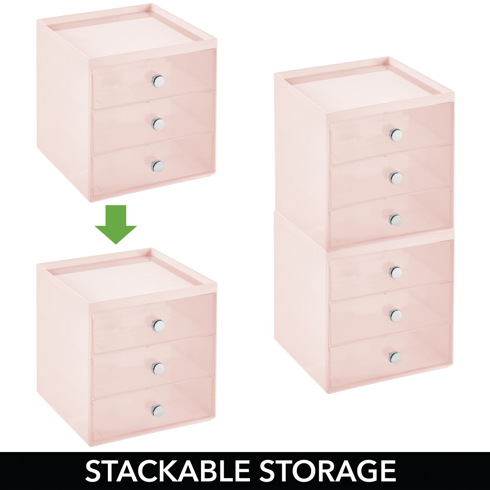 mDesign-Plastic-Makeup-Storage-Organizer-Cube-3-Drawers thumbnail 53