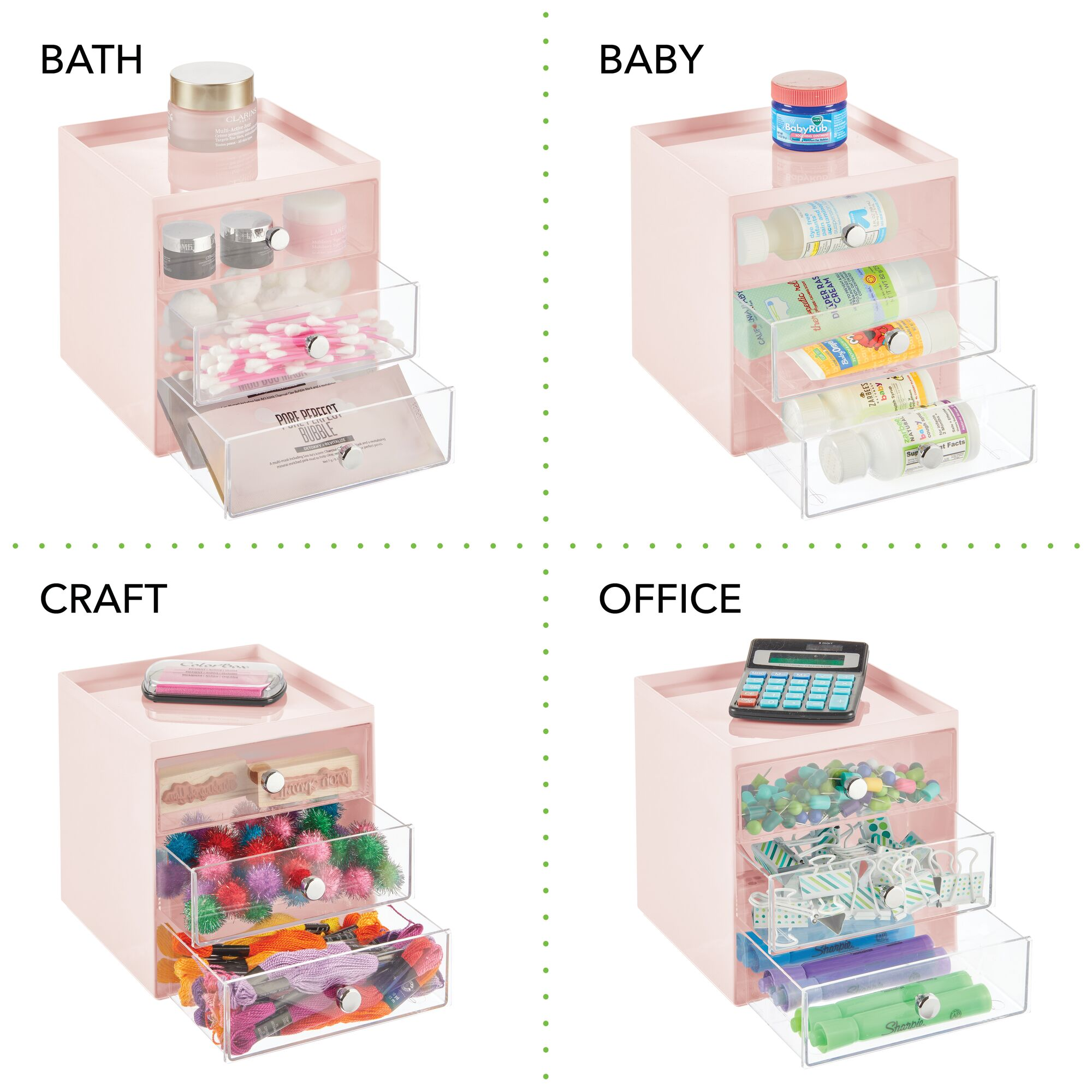 mDesign-Plastic-Makeup-Storage-Organizer-Cube-3-Drawers thumbnail 54